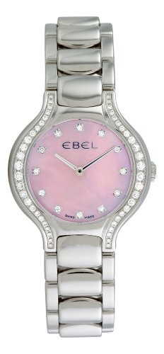Ebel Beluga 1215858 Stainless Steel & Diamond Womens Luxury Watch Pink MOP Dial 9256N28/971050