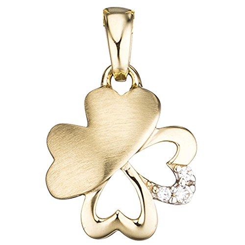 Colgante con diseño de trébol mariposa de oro amarillo Zirconia mujeres 333