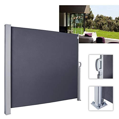 wolketon Seitenmarkise-160 x 300 cm Anthrazit TÜV,geprüft UV,Reißfestigkeit,seitlicher Sichtschutz sichtschutz,für Balkon Terrasse ausziehbare markise