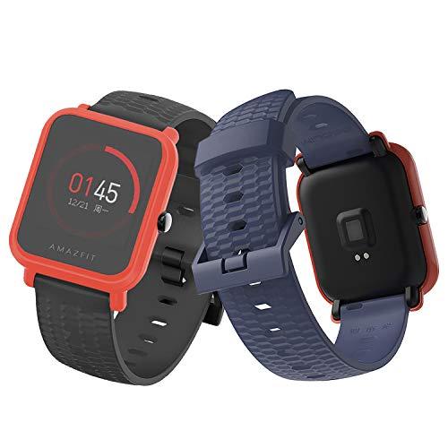 SenMore 20mm Cinturino per Xiaomi Amazfit Bip Lightweight Bracciale Universale in Sport Cinturino Sportivo per Samsung Gear S2 Frontier/Classic, Huawei Watch 2, Amazfit Bip Younth (20mm, Black&Blue)