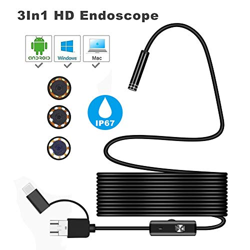 Leoie USB Endoscope, 5.5mm IP67 Waterproof Endoscope Camera, 3 in 1 Type-C Borescope Inspection Camera with 6 LED Lights for PC Notebook Android Mobile Phone