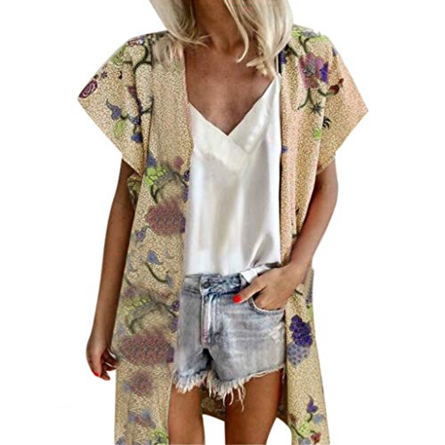 Lazzboy Donna Cardigan Plus Size Beach Swimwear Cover-up Allentato Summer Floral cap Protezione...