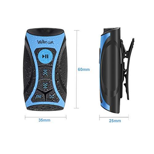 Walkercam S1 Reproductor de música MP3 100% Impermeable con Radio FM y Auriculares subacuáticos para natación, Deportes acuáticos, Cable Corto, 8 GB