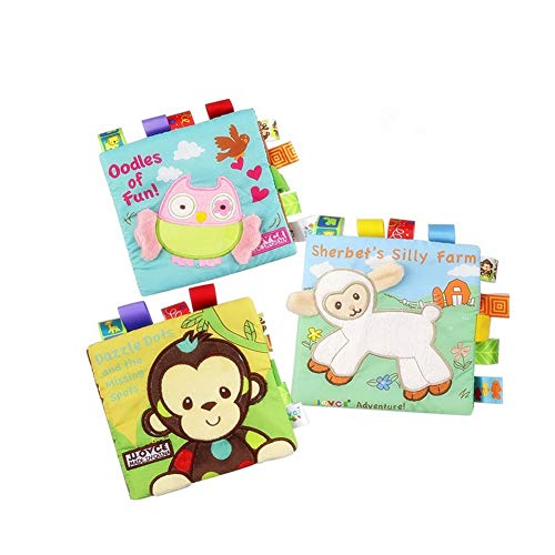 HOWADE Libri di stoffa per bambini, tessuto attività non tossiche Libro morbido a grinze precoci...