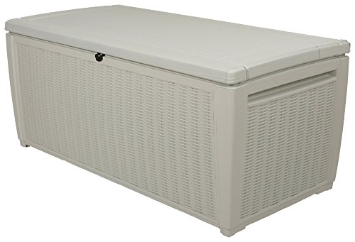 Keter Rattan Style 3 Drawer Cart.Keter Rattan Style Outdoor Pool Storage Deck Box 511 L White