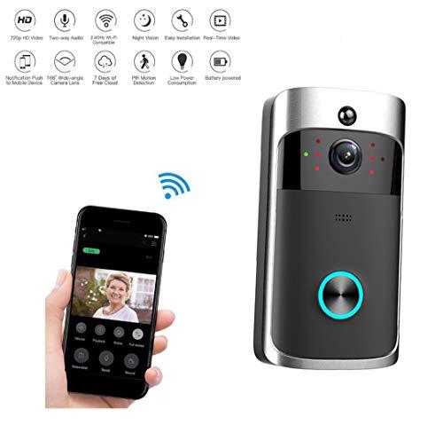 Video Citofono, WiFi Campanello Wireless Video 720P HD Campanello visivo, monitoraggio remoto casa...