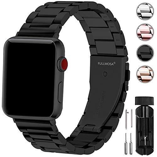 Fullmosa Compatibile Cinturino per Apple Watch 42mm e 38mm,3 Colori Cinturino per iWatch in Acciaio Inossidabile,Cinturino per Apple Watch Series1,2,3,4,5,38mm Nero