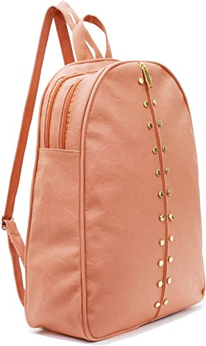 Typify Studded Casual Fashion Leather Shoulder Bag Mini Backpack for Women (Peach)