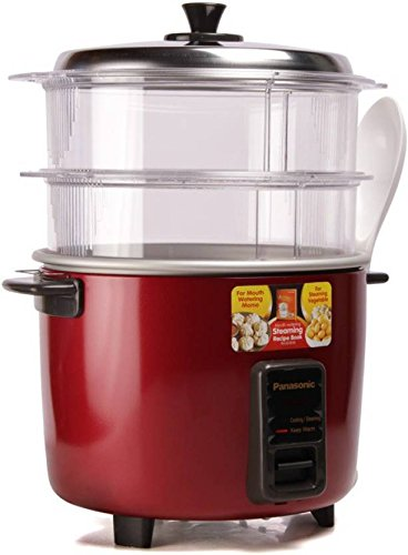 Panasonic SR-WA18H (SS) Rice Cooker, Food Steamer (4.4 L, Mettalic Burgundy)