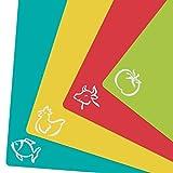 ZITFRI 4er Set Schneidebrett Kunststoff 38x30,5cm Schneidematte antibakteriell biegsam hygiene und rutschfest, getrennter Gebrauch für Lebensmittel wie Fisch / Gemüse / Geflügel / Fleisch