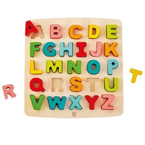 Hape International- Puzle Encajable Alfabeto Mayúsculas, Multicolor (E1551)