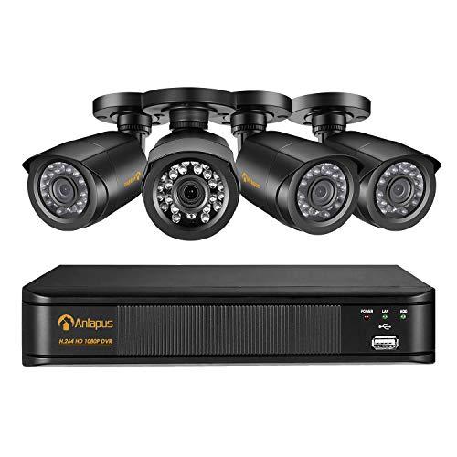 Anlapus CCTV Kit di Videosorveglianza 8 Canali 1080P DVR con 4 * 2MP Telecamera Esterno, Backup USB, Allarme Email, Sistema di Sicurezza, Hard Disk Non Incluso