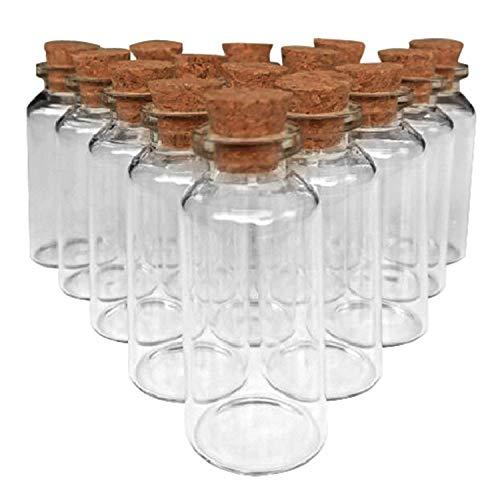 DIY Crafts 20 Pcs 20ml Cork Stoppers Glass Bottles, DIY Decoration Mini Glass Bottles Favors, Mini Vials Cork, Message Glass Bottle Vial Cork, Small Glass Bottles Jars Corks for Wedding Party Favors 4