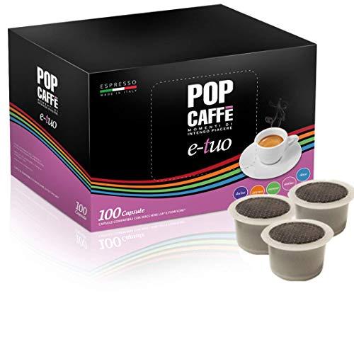 100 CAPSULE POP CAFFE' E-TUO 1 INTENSO COMPATIBILI FIOR FIORE, LUI ESPRESSO E MITACA MPS ,AROMA VERO