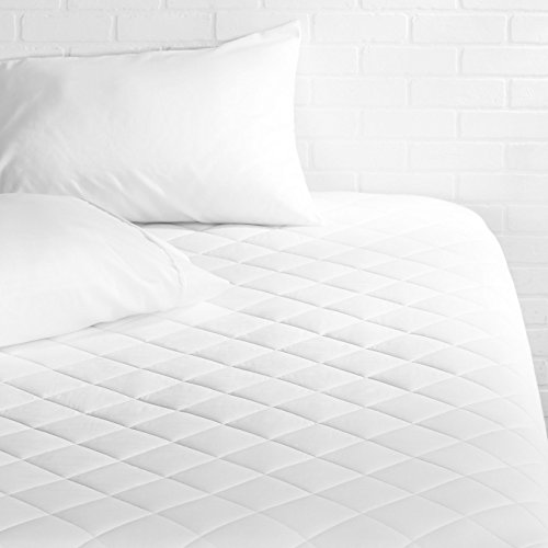 "AmazonBasics Hypoallergenic Quilted Lightweight Mattress Topper, 18"" Deep, Twin-XL (White)"