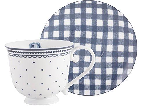 Katie Alice Vintage Indigo Tasse und Untertasse aus Porzellan, 200 ml (7 fl oz)