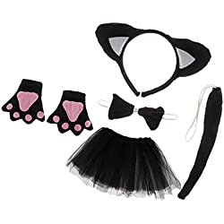 MagiDeal Gato Disfraz Vestuario de Tutú Fiesta de Cumpleaños Navidad Niños Atrezo de Fiesta Utillaje para Niñas Negro