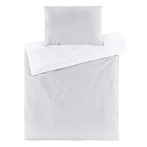 Fillikid Babybettwäsche - Deckenbezug 80x80 cm, Kissenbezug 35x40 cm - 100% Baumwolle | Kinder Bettwäsche Set mit Hoteleinschlag, OekoTex geprüft - Grau Weiß Punkte