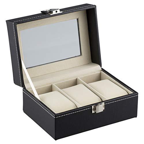 Rkpm Wrist Watch Storage Box Display Case Organizer Of Faux Leather Finish With Glass Window 3 Slot Giftingtrends