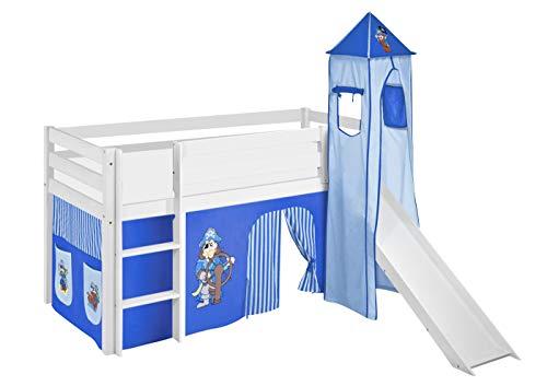 Lilokids Spielbett JELLE Pirat Blau - Hochbett weiß - mit Turm, Rutsche und Vorhang