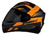 Steelbird SBA-1 R2K Full Face Helmet with Smoke Visor (Matt Black and Orange, L)