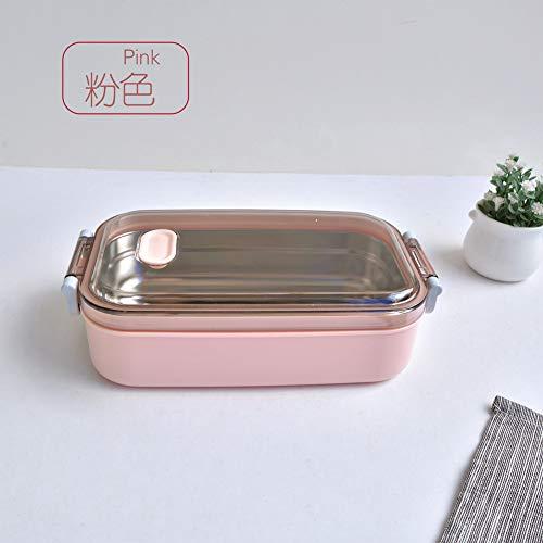 UJNCIKFNK Inox Acciaio Isolato Pranzo Box Doppia Microonde Food Preparation Bento Box -a