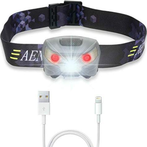 USB Wiederaufladbare LED Stirnlampe Kopflampe, Sehr hell, wasserdicht, leicht und bequem, Perfekt fürs Joggen, Gehen, Campen, Lesen, Laufen, für Kinder und mehr, inklusive USB Kabel