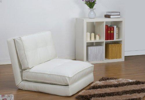 Artdeco Poltrona letto, (rivestimento in fintapelle, bianco grande)