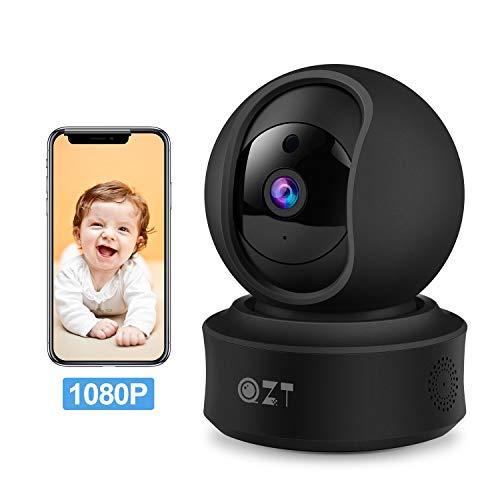 Telecamera IP FHD 1080P Wifi, QZT Telecamera di sicurezza domestica wireless con visione notturna, Rilevazione di movimento, Monitor di sorveglianza interna per animali domestici