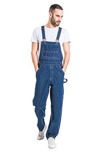 Wash Clothing Company Salopette di Jeans Uomo Relaxed Fit - Stonewash Overalls a Buon Mercato MADDOXSW-L-36