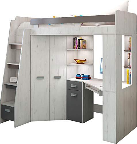 Hochbett/Etagenbett mit Treppe rechts oder links, alles-in-einem-Möbel-Set für Kinder mit Bett, Kleiderschrank, Regal und Schreibtisch Craft-white/Graphite - Left Hand-side Stairs.