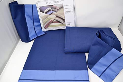 COTTON JOY Completo Letto Matrimoniale Percalle Curling Blu/Azzurro VAR. 01'