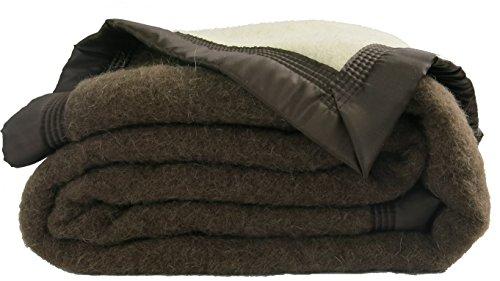 Couverture hiver Premium - 100% pure laine vierge - OUSON - Choco R2/Ecru A1 - 220 x 240 21