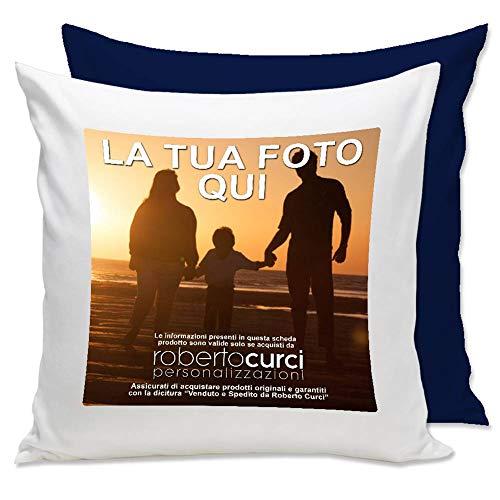 Cuscino Personalizzato con Foto - Blu, 40x40 cm - con Imbottitura