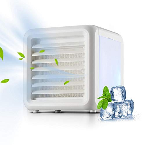 OOOUSE Mobile Air Conditioner, USB Portable Cooling Air Cooler, Upgrade 3 in 1 Mini Personal Space Cool Air Humidifier Desktop Cooling Fan with 7-Color Night Light, No Leakage