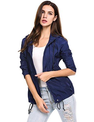 Zeagoo Chaqueta Mujer Ligera Impermeable Capucha Manga Larga Outwear Azul Marino S