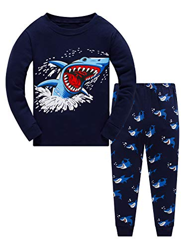 Pijama para niños 100% algodón Dinosaurio Pijama Pijama Pijama Pijama Pijama Pijama Ropa de Dormir para niños 2 Piezas Traje 1 a 10 años Gris Shark Print 3 9-10 Años Antiguo