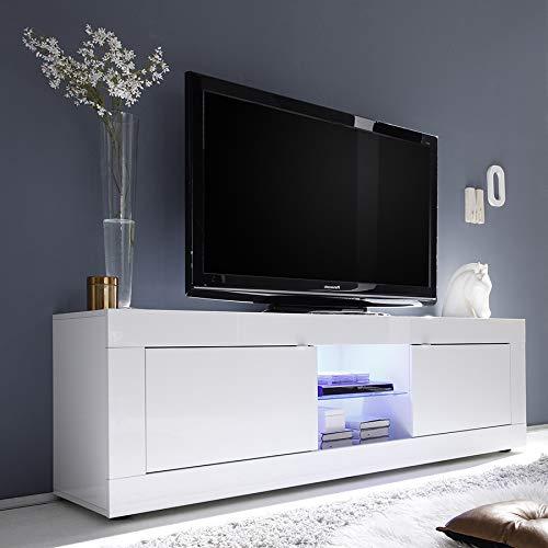 Mobile TV 180cm Bianco Laccato Design focia 2, Bianco, avec éclairage