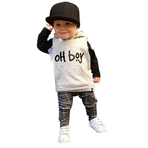 Covermason Conjunto de Bebé Niño, OH Boy Impresión Encapuchado Suéter y Enrejado Pantalones para 0-3Años