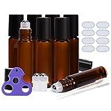 ULG Roll on Bottles 10ml Bottiglie vuote in Vetro Color Ambra 8 Pezzi Sfere in Acciaio Inox 2 Sfere Extra 8 Etichette Impermeabili da 1 Parte 1 apriscatole e 3ml contagocce per Oli Essenziali