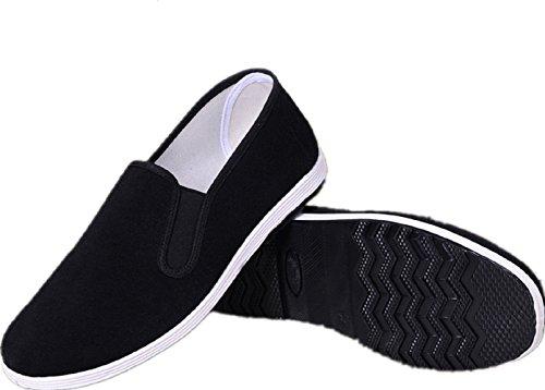 APIKA Chinesische traditionelle Peking-Stil Schuhe Kung Fu Tai Chi Schuhe Gummisohle Unisex Schwarz (270mm 44EU)