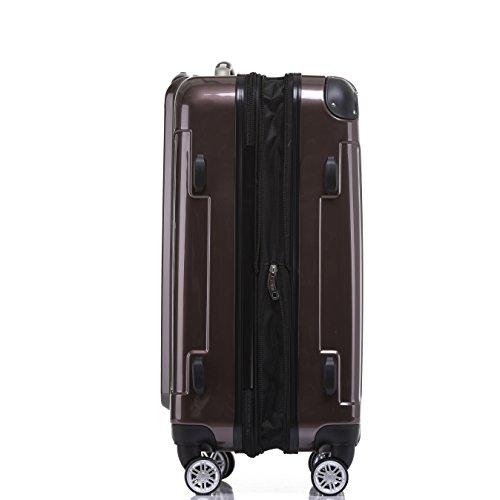 BEIBYE Hartschalen Koffer Trolley Rollkoffer Reisekoffer 4 Zwillingsrollen Polycabonat (Coffee, Kofferset) - 4