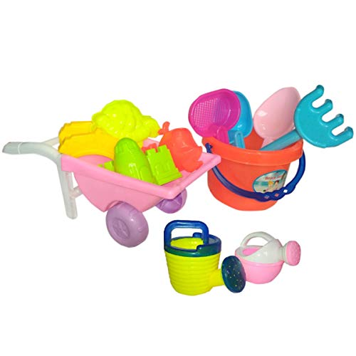 IndusBay Kid's Gardening Cum Beach Sand Wagon Tool Play Set with Bucket and Multiple Tools