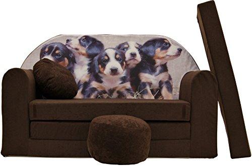ProCosmo K7, divano letto futon con pouf/poggiapiedi/cuscino, in tessuto, per bambini, 168x...