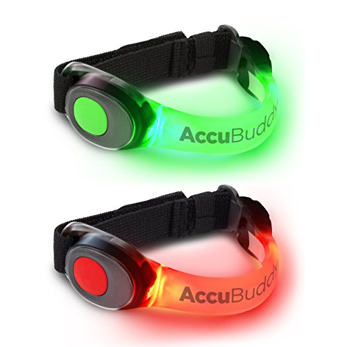 AccuBuddy Braccialetto a LED – 2 Braccialetti Luminosi per la Corsa e Come Luce di Sicurezza per...