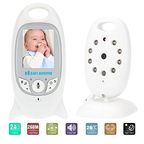 KKmoon VB601 Baby Monitor 2.0in LCD Inalámbrica de 2,4 GHz con 8IR LED de Dos Vías Talk 8 Lullabies Temperatura del Monitor de Modo VOX