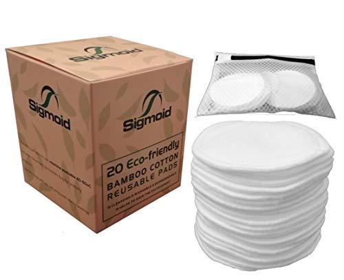 Sigmoid wiederverwendbare Make-up-Entferner-Pads, waschbar, Bambus-Baumwolle, 20er-Pack mit Wäschebeutel