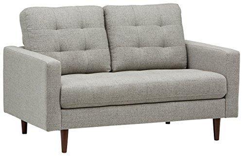 Marchio Amazon -Rivet, divano trapuntata modello Cove, stile mid-century, versione amorino, larghezza 143 cm, colore grigio chiaro