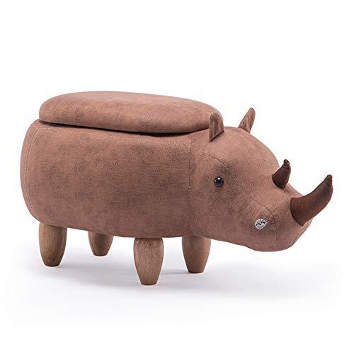 YUEDUDENG Utensile Ottomano,Creativo Rhino Imbottito Legno Massello Cambiare Lo Sgabello delle...