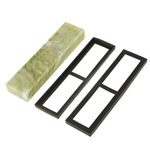 Piedra de afilar de esmeralda natural, 200 x 50 x 25 mm, piedra de afilar con base de drenaje, excelente herramienta de pulido
